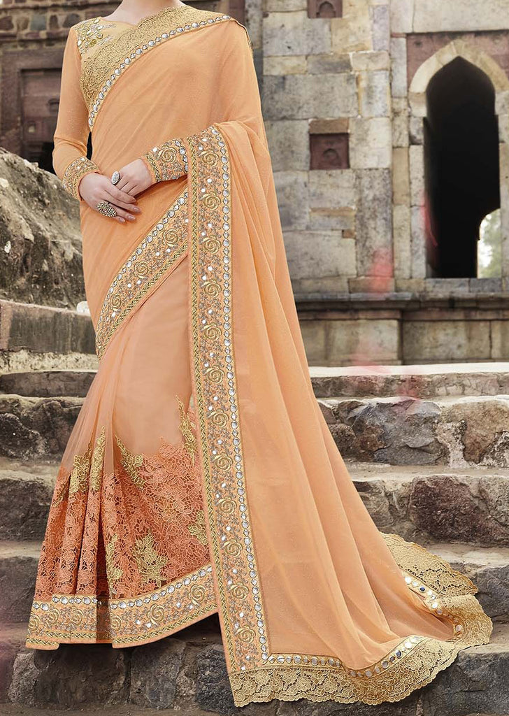 Peach & Gold Designer Embroidered Georgette & Net Bridal Saree - Saira's Boutique - 3