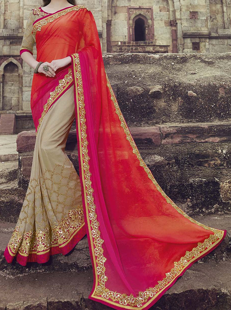 Shaded Orange Pink & Beige Designer Embroidered Georgette Bridal Saree - Saira's Boutique - 2