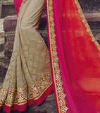 Shaded Orange Pink & Beige Designer Embroidered Georgette Bridal Saree - Saira's Boutique - 4