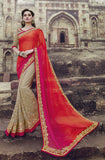 Shaded Orange Pink & Beige Designer Embroidered Georgette Bridal Saree - Saira's Boutique - 1