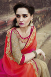 Shaded Orange Pink & Beige Designer Embroidered Georgette Bridal Saree - Saira's Boutique - 5