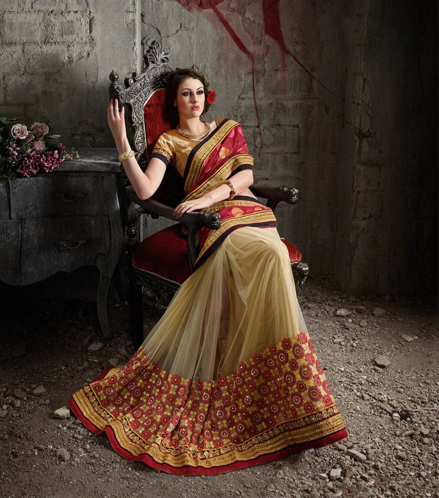 Red & Beige Designer Embroidered Net Saree - Saira's Boutique - 2