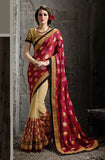 Red & Beige Designer Embroidered Net Saree - Saira's Boutique - 1
