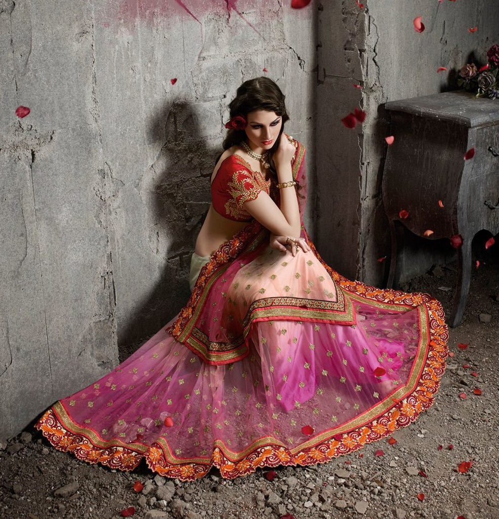 Shaded Pink & Cream Designer Embroidered Net Saree - Saira's Boutique - 2