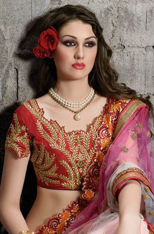 Shaded Pink & Cream Designer Embroidered Net Saree - Saira's Boutique - 3