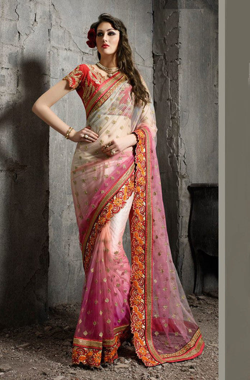 Shaded Pink & Cream Designer Embroidered Net Saree - Saira's Boutique - 1