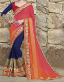 Dark Beige & Shaded Orange Pink Designer Embroidered Bridal Saree-Saira's Boutique