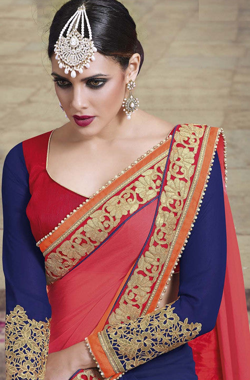 Navy Blue & Orange Designer Embroidered Fancy Bridal Saree - Saira's Boutique - 5