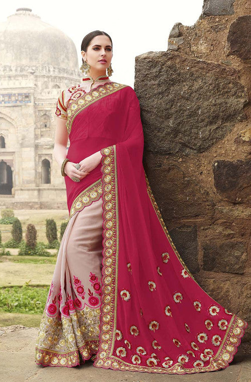 Lavender Pink & Magenta Red Designer Embroidered Georgette Bridal Saree - Saira's Boutique - 1