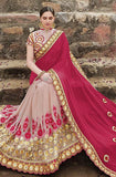 Lavender Pink & Magenta Red Designer Embroidered Georgette Bridal Saree - Saira's Boutique - 5
