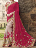 Lavender Pink & Magenta Red Designer Embroidered Georgette Bridal Saree - Saira's Boutique - 2