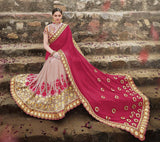 Lavender Pink & Magenta Red Designer Embroidered Georgette Bridal Saree - Saira's Boutique - 3