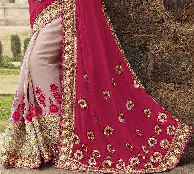 Lavender Pink & Magenta Red Designer Embroidered Georgette Bridal Saree - Saira's Boutique - 4