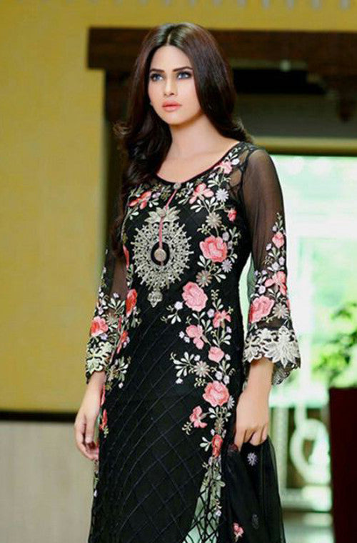 Black Georgette Designer Pant Suit - Saira's Boutique - 4