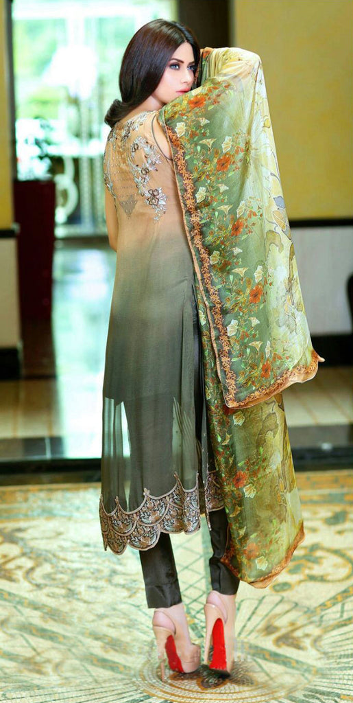 Green & Brown Georgette Designer Pant Suit - Saira's Boutique - 2