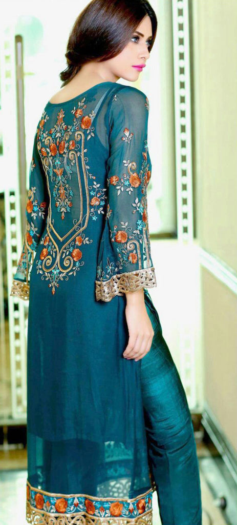 Blue Georgette Designer Pant Suit - Saira's Boutique - 2