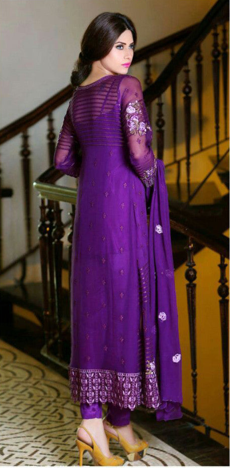Purple Georgette Designer Pant Suit-Saira's Boutique