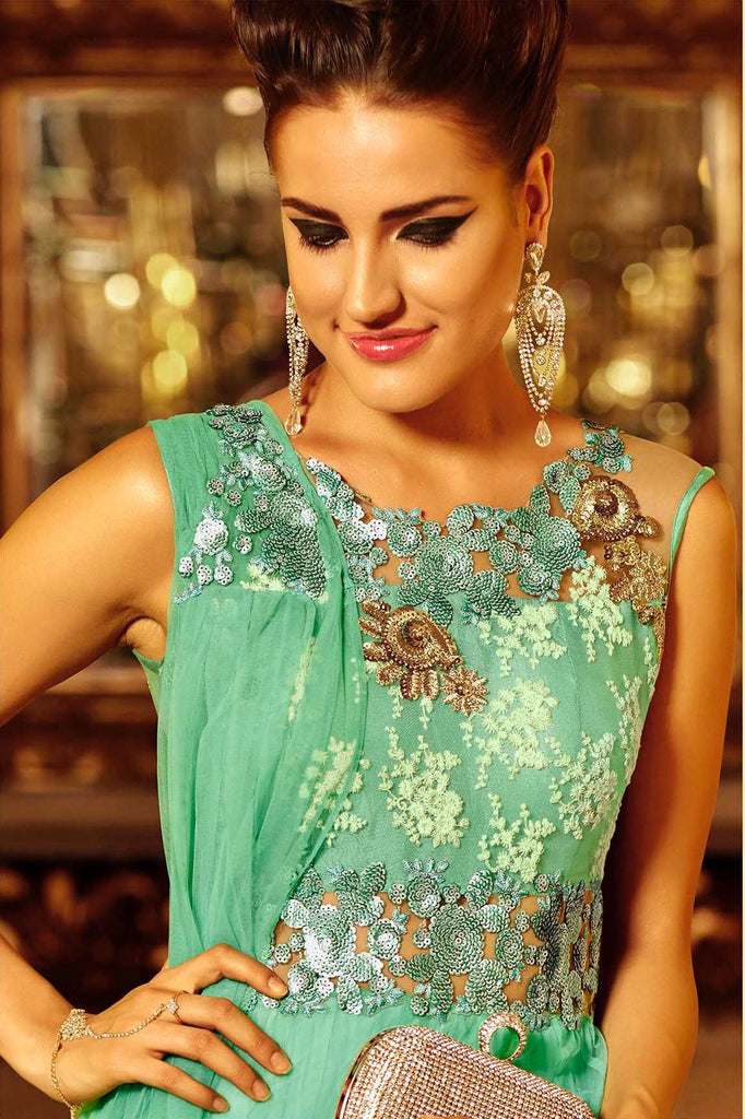 Sea Green Embroidered Designer Anarkali Suit-Saira's Boutique