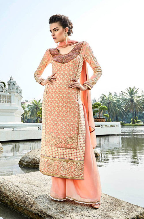 Peach Heavy Embroidered Designer Georgette Straight Suit - Saira's Boutique - 1