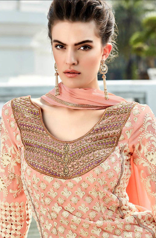 Peach Heavy Embroidered Designer Georgette Straight Suit - Saira's Boutique - 3