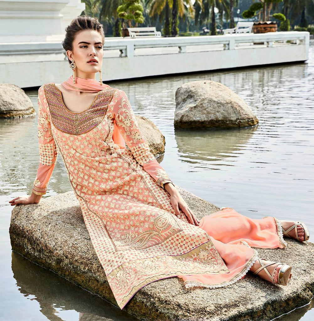Peach Heavy Embroidered Designer Georgette Straight Suit - Saira's Boutique - 2