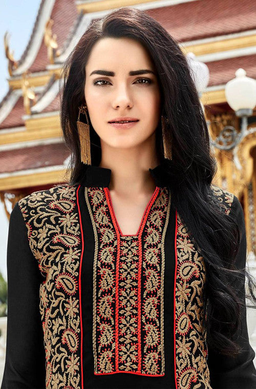 Black Heavy Embroidered Designer Georgette Churidar Suit - Saira's Boutique - 2