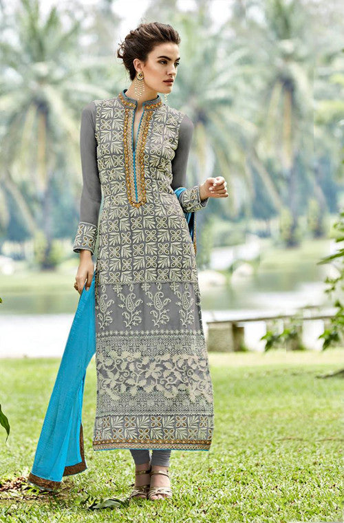 Gray Heavy Embroidered Designer Georgette Churidar Suit - Saira's Boutique - 1