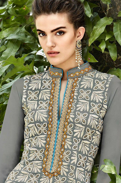 Gray Heavy Embroidered Designer Georgette Churidar Suit - Saira's Boutique - 2