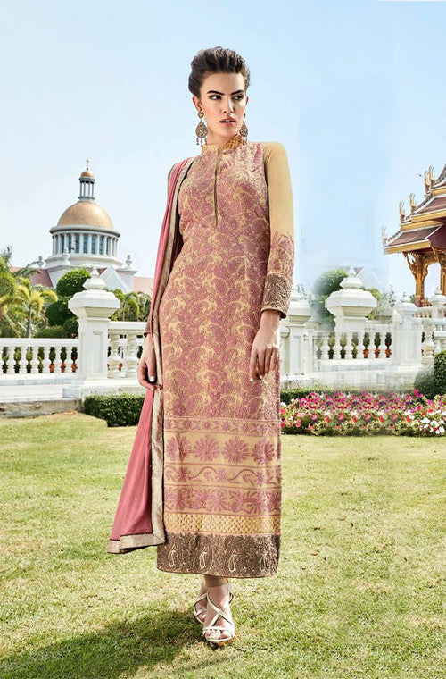 Beige Heavy Embroidered Designer Georgette Churidar Suit - Saira's Boutique - 1