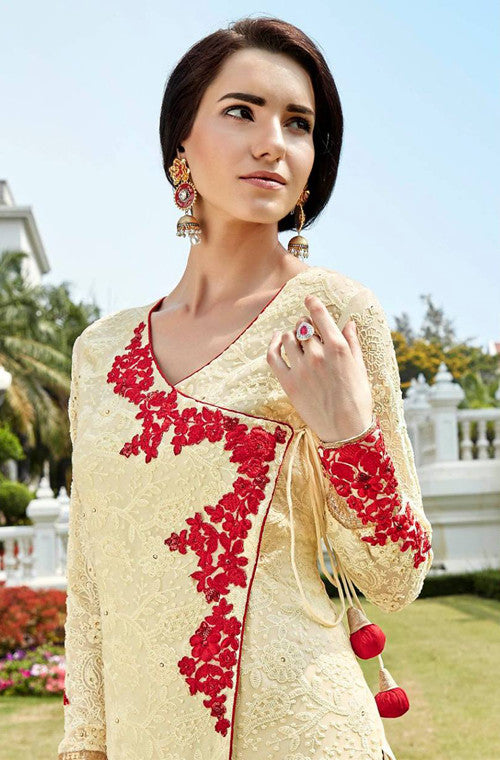 Cream Yellow Heavy Embroidered Designer Georgette Churidar Suit - Saira's Boutique - 2