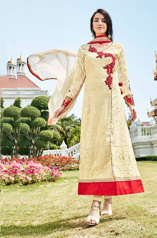 Cream Yellow Heavy Embroidered Designer Georgette Churidar Suit - Saira's Boutique - 1