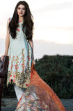 Light Blue & Orange Embroidered Lawn Cotton Pant Suit - Saira's Boutique - 1