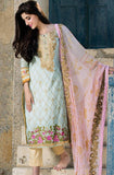 Light Blue & Pink Embroidered Lawn Cotton Pant Suit - Saira's Boutique - 1