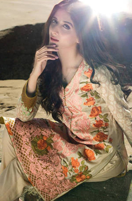 White & Pink Embroidered Lawn Cotton Pant Suit - Saira's Boutique - 3