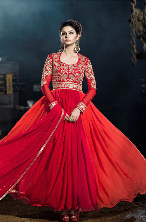 Red Designer Embroidered Georgette Floor Length Anarkali Suit - Saira's Boutique - 1