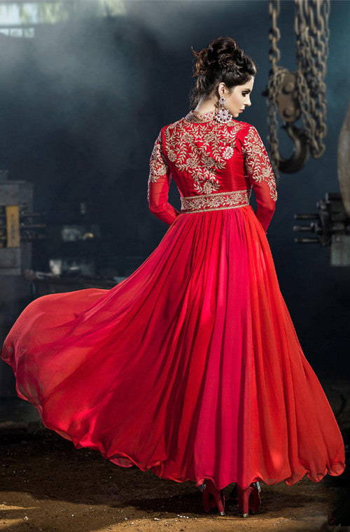 Red Designer Embroidered Georgette Floor Length Anarkali Suit - Saira's Boutique - 3