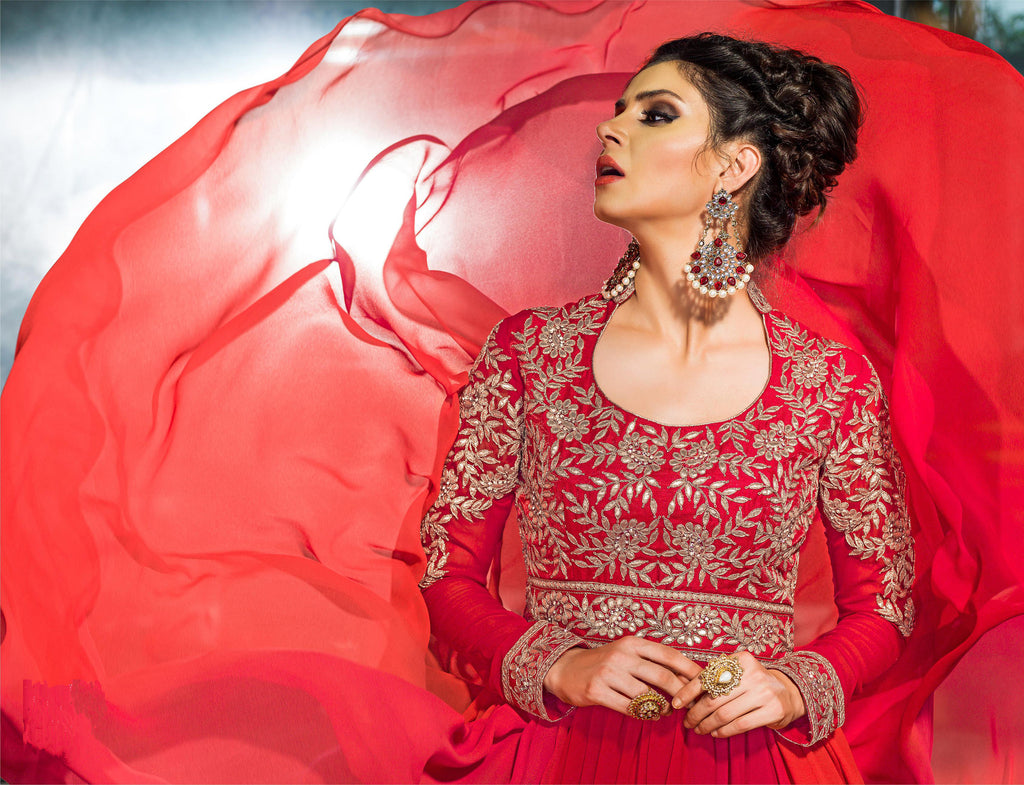 Red Designer Embroidered Georgette Floor Length Anarkali Suit - Saira's Boutique - 2