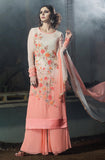 Light Peach & Off White Designer Embroidered Georgette Straight Suit - Saira's Boutique - 1