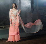 Light Peach & Off White Designer Embroidered Georgette Straight Suit - Saira's Boutique - 2