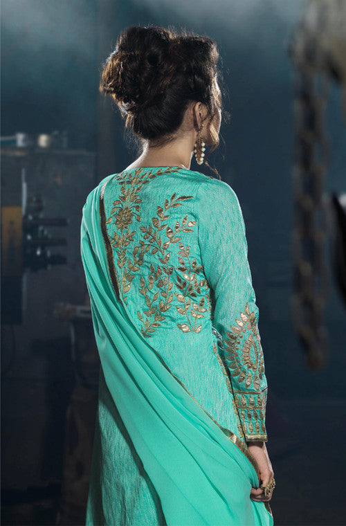 Turquoise Blue Designer Embroidered Georgette Churidar Suit - Saira's Boutique - 2