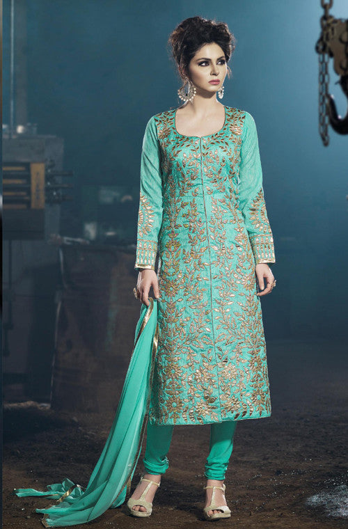 Turquoise Blue Designer Embroidered Georgette Churidar Suit - Saira's Boutique - 1