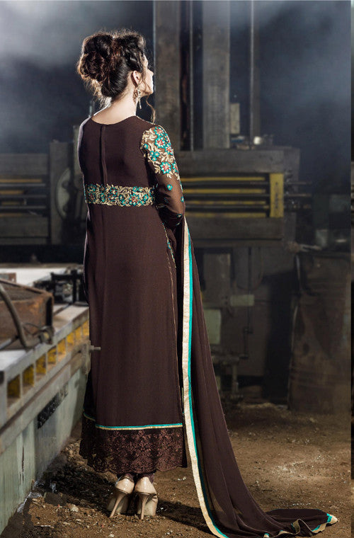 Brown Designer Embroidered Georgette Churidar Suit - Saira's Boutique - 2