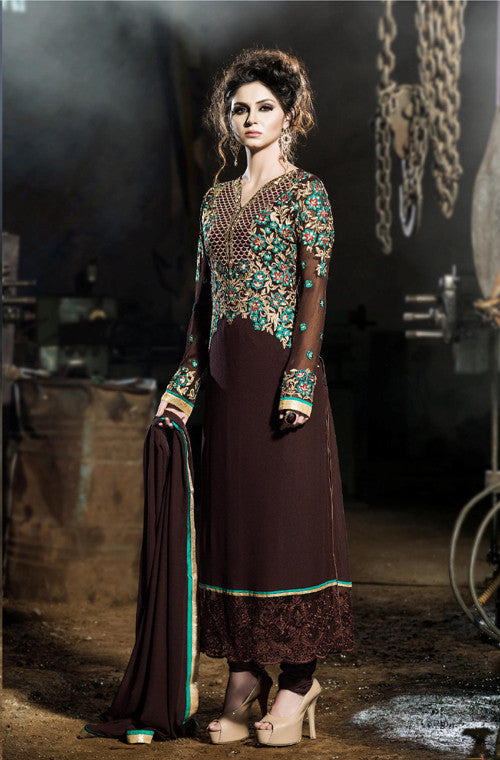 Brown Designer Embroidered Georgette Churidar Suit-Saira's Boutique