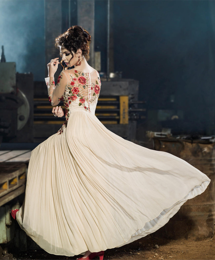 Off White Designer Embroidered Floor Length Anarkali Suit - Saira's Boutique - 2