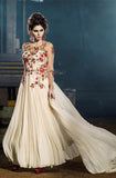 Off White Designer Embroidered Floor Length Anarkali Suit - Saira's Boutique - 1