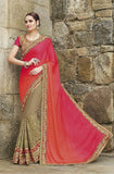 Dark Beige & Shaded Orange Pink Designer Embroidered Bridal Saree - Saira's Boutique - 1