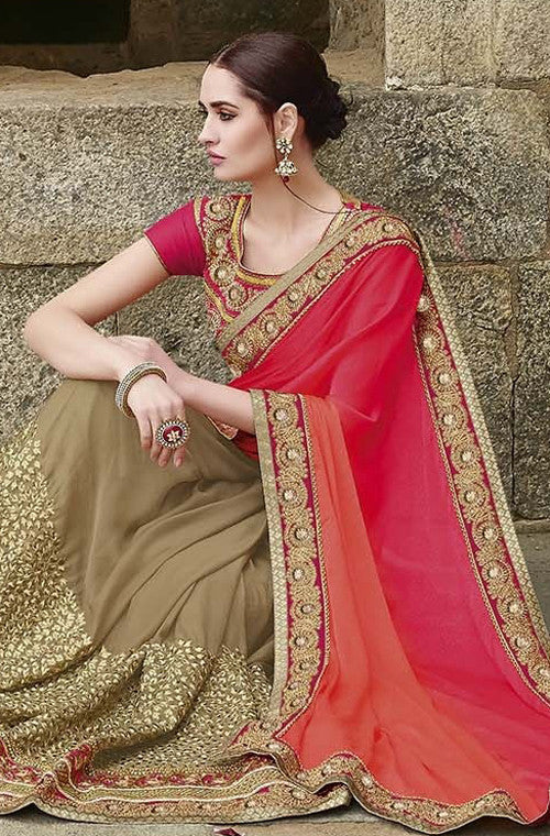 Dark Beige & Shaded Orange Pink Designer Embroidered Bridal Saree - Saira's Boutique - 6
