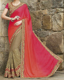 Dark Beige & Shaded Orange Pink Designer Embroidered Bridal Saree - Saira's Boutique - 2