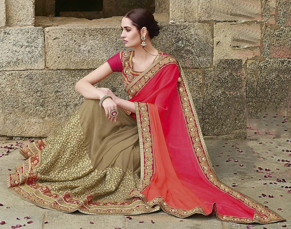 Dark Beige & Shaded Orange Pink Designer Embroidered Bridal Saree - Saira's Boutique - 3