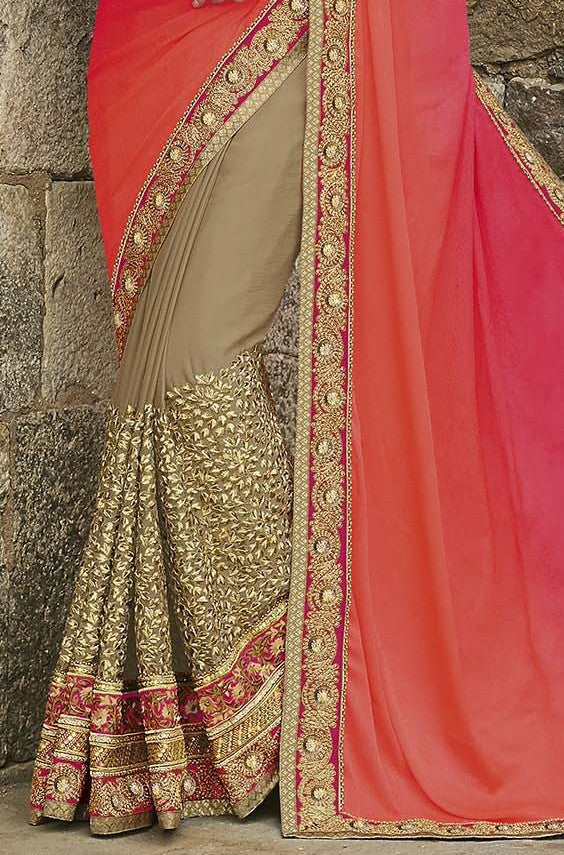 Dark Beige & Shaded Orange Pink Designer Embroidered Bridal Saree - Saira's Boutique - 5